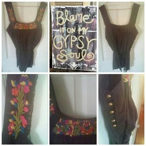 Boho Embroidered Tank Blouse
